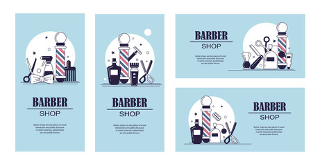 Composition of the set icons for the Barber shop. Vector elements your web design