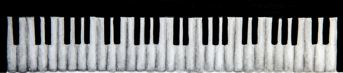 watercolor sketch of piano keyboard