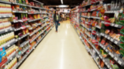 Supermarket store abstract blur background