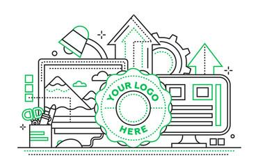 Logo Template, image Processing - flat line design website banner