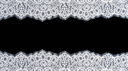 Invitation, greeting or wedding card with white lace on black background
