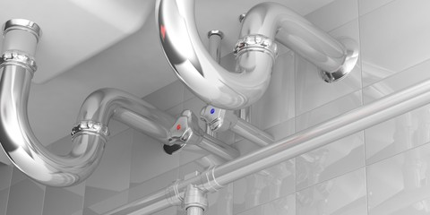 Water pipes under double sink. 3d illustration