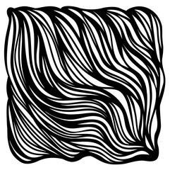 vector black and white wavy hair background handmade