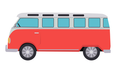Retro Travel Red Van