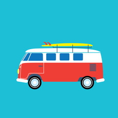 Surf bus with the surfboard on the roof. Vector