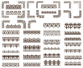 Art deco design elements of vintage ornaments and borders corners of the frame Isolated art nouveau flourishes on a white background
