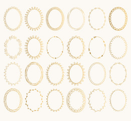 Set of golden oval hand drawn frames. Vector design elements. Fancy illustration. Isolated