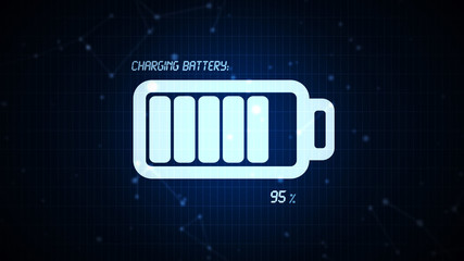 Battery charging icon illustration, rechargeable energy power co