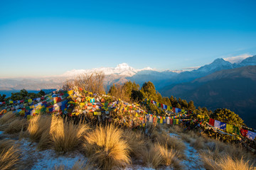 Poon Hill view point for see snow mountain in Nepal , Annapurna range