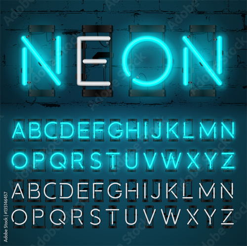 Neon light alphabet vector font glowing text effect on and off neon light alphabet vector font glowing text effect on and off lamp neon altavistaventures Image collections