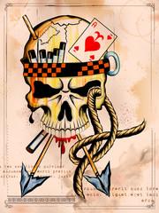 Vintge style grungy skull print retro background