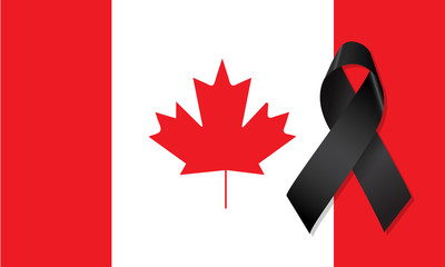 Canada flag with the black ribbon in mourning sign vector