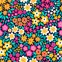 Vector seamless pattern with flat flowers and leaves. Cute floral background for your design. Bright colors - pink, yellow, green elements on black background.