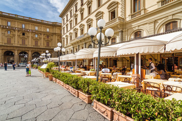 Summer street cafe on Piazza della Repubblica in Florence, Toscana province, Italy.