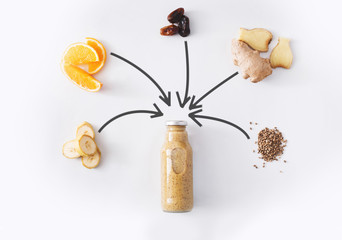 Banana and ginger detox juice ingredients isolated on white background