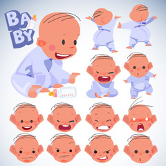 Baby emotions set. character design. newbies baby concept - vect