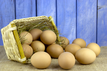 eggs poured from the basket