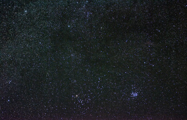 Zodiacal constellation of Taurus with its open star clusters, Pleiades and Hyades