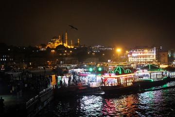 Night Istanbul panorama, Turkey