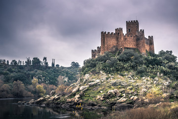 Printed roller blinds Castle January 04, 2017: Panoramic view of the medieval castle of Almourol, Portugal
