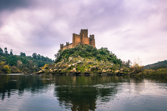 January 04, 2017: Panoramic view of the medieval castle of Almou