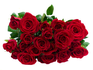 Bouquet of fresh dark red rose buds with green leaves, top view, isolated on white background