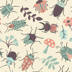 Seamless pattern with cute small beetles and plants.
