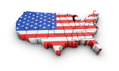 USA map with flag and shadow on white background. 3D rendering.