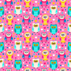 Cute owls. Vector seamless pattern with hand drawn flat birds. Colorful owl with white doodle ornament. Pink, yellow, green, beige, blue and white colors. On pink background with hearts and dots.