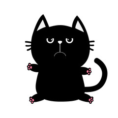 Black cat icon. Cute funny cartoon grumpy character. Kawaii animal. Big tail, whisker, eyes. Sad emotion. Kitty kitten Baby pet collection. White background. Isolated. Flat design.