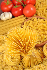 Italian pasta, ripe tomatoes branch and garlic