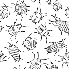 Small funny vector bugs seamless pattern.