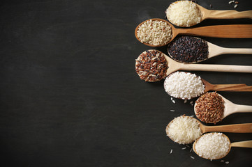 Various rice in spoons
