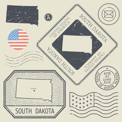 Retro vintage postage stamps set South Dakota, United States
