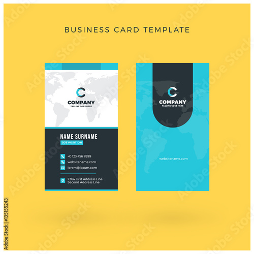 Modern Creative Vertical Doublesided Business Card Template Flat - Double sided business card template