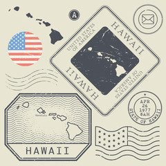 Retro vintage postage stamps set Hawaii, United States