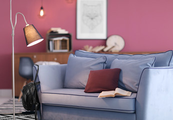 New sofa in modern room interior. Minimalism concept