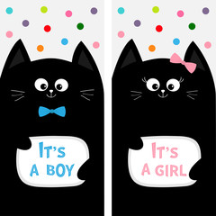 Black cat family couple with bow. Flyer poster set. Cute funny cartoon character. Its a boy girl. Baby shower greeting card. Flat design. White background. Colorful round dots.