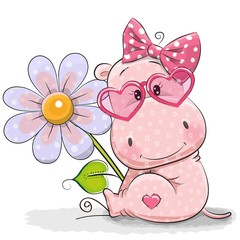 Greeting card Hippo with flower