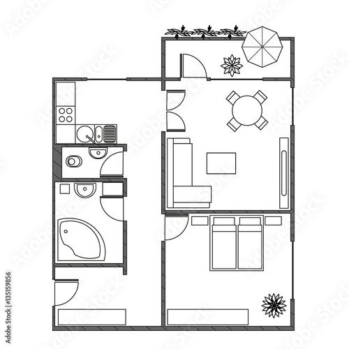 grundriss mit m beln einer zwei zimmer wohnung mit balkon modernes interieur als draufsicht. Black Bedroom Furniture Sets. Home Design Ideas