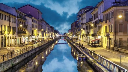 Fototapete - Naviglio Grande canal in the evening, Milan, Italy (static image with animated sky and water)
