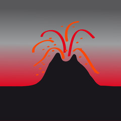 Volcano on dark background
