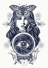 Magic woman tattoo art. Fortune teller, crystal ball