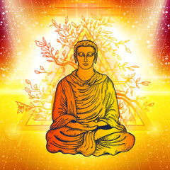 Buddha in a lotus pose. Meditation symbol, yoga, spirituality