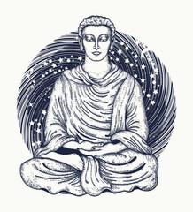 Space Buddha tattoo art. Religious symbol of harmony