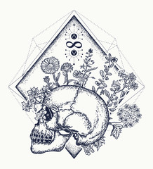 Human skull through which flowers, tattoo art, symbol of life