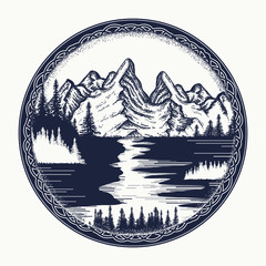 Mountains and river landscape tattoo. Symbol tourism, travel