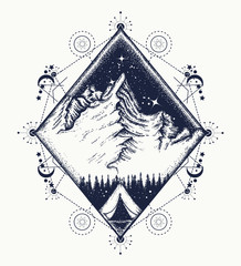 Mountains tattoo art. Symbol of tourism, travel, adventures