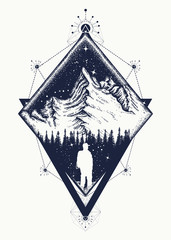 Mountain triangular style tattoo art. Symbol of climbing