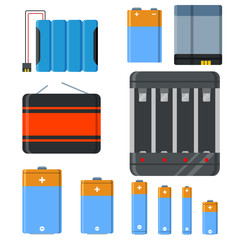 Battery and accumulator blue set isolated vector illustration